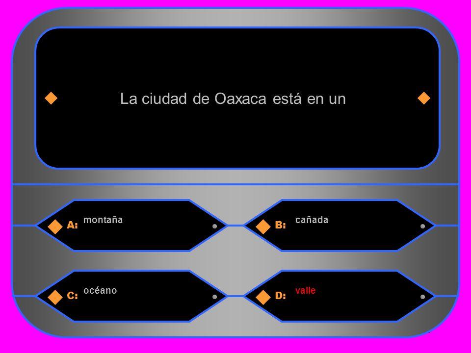 28 A:B: montañacañada La ciudad de Oaxaca está en un C:D: océanovalle