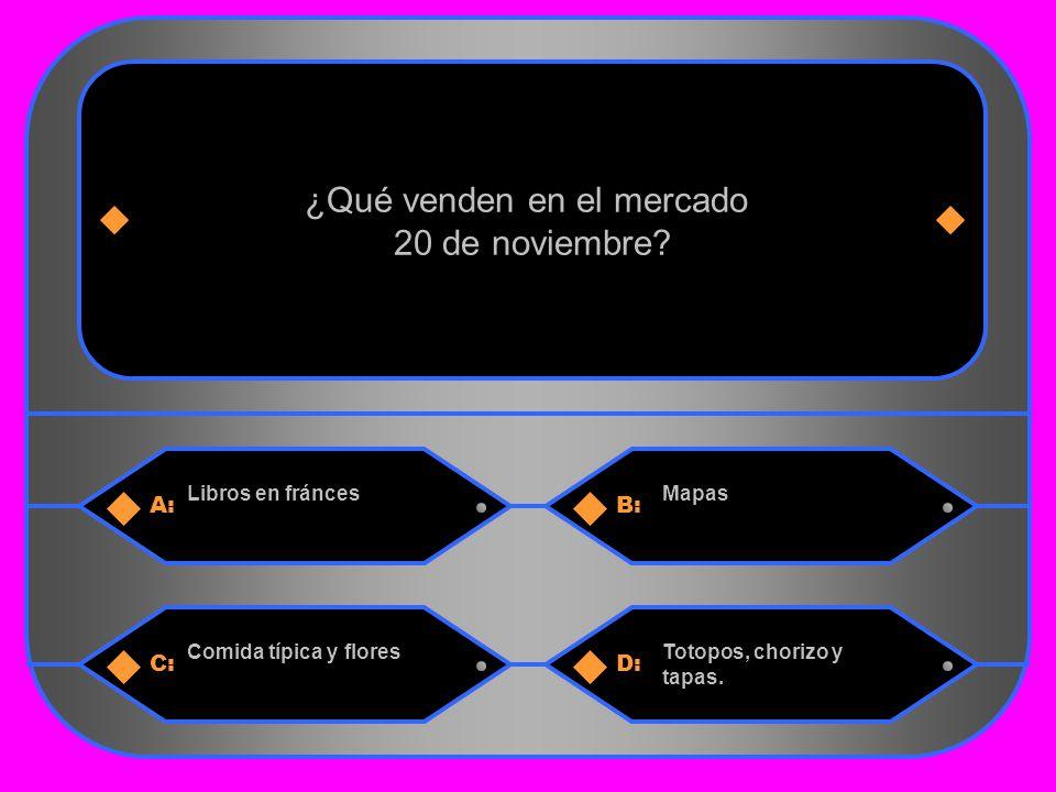 9 A:B: Libros en fráncesMapas ¿Qué venden en el mercado 20 de noviembre.