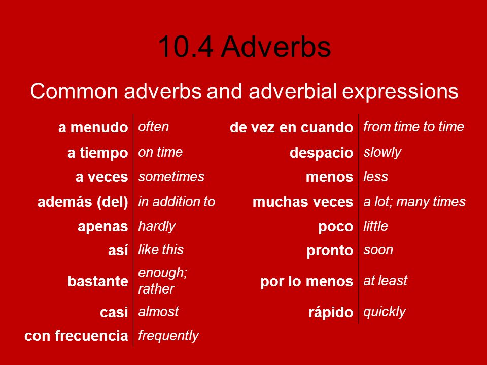 10.4 Adverbs Common adverbs and adverbial expressions a menudo often de vez en cuando from time to time a tiempo on time despacio slowly a veces somet