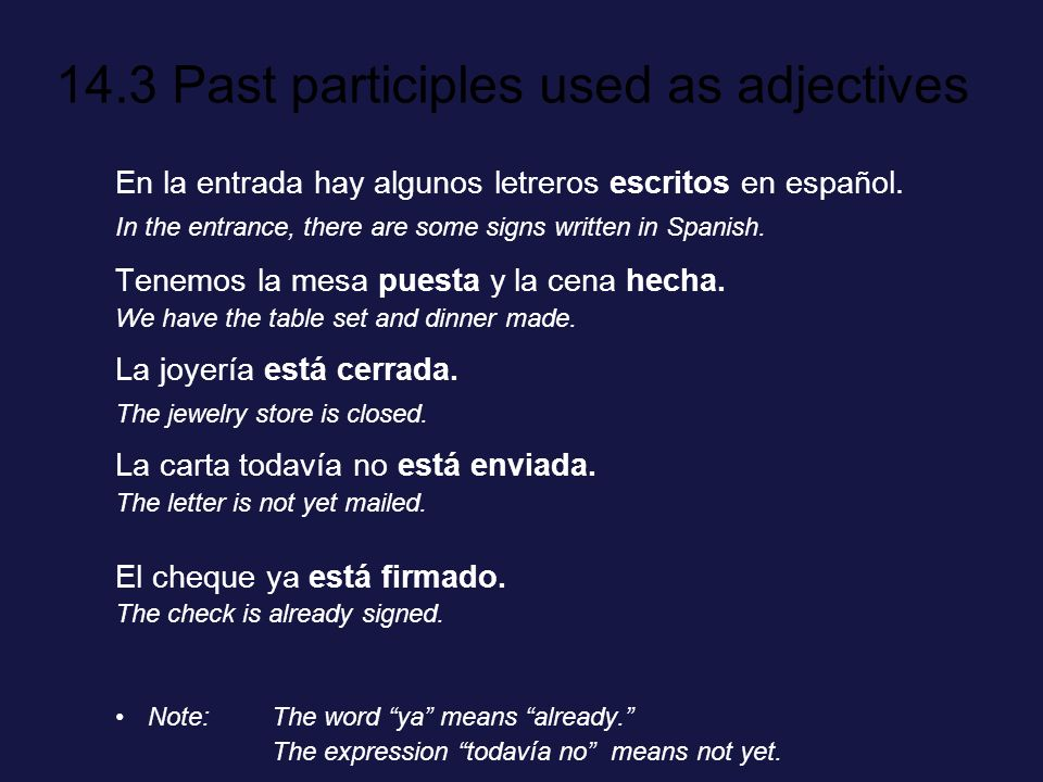 14.3 Past participles used as adjectives ¡INTÉNTALO.