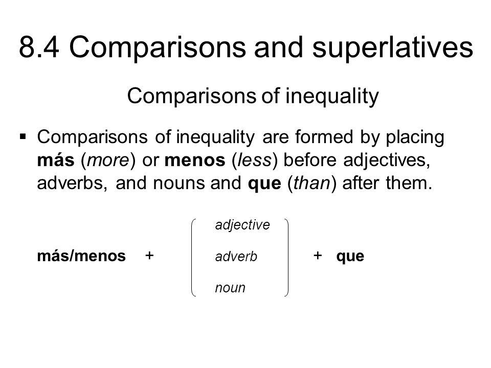 8.4 Comparisons and superlatives ¡INTÉNTALO.Escribe el equivalente de las palabras en inglés.