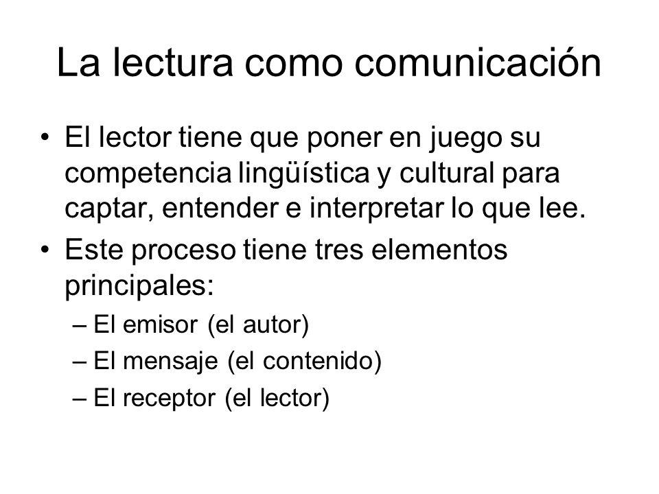 La lectura como comunicación El lector tiene que poner en juego su competencia lingüística y cultural para captar, entender e interpretar lo que lee.