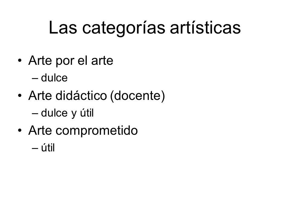 Las categorías artísticas Arte por el arte –dulce Arte didáctico (docente) –dulce y útil Arte comprometido –útil