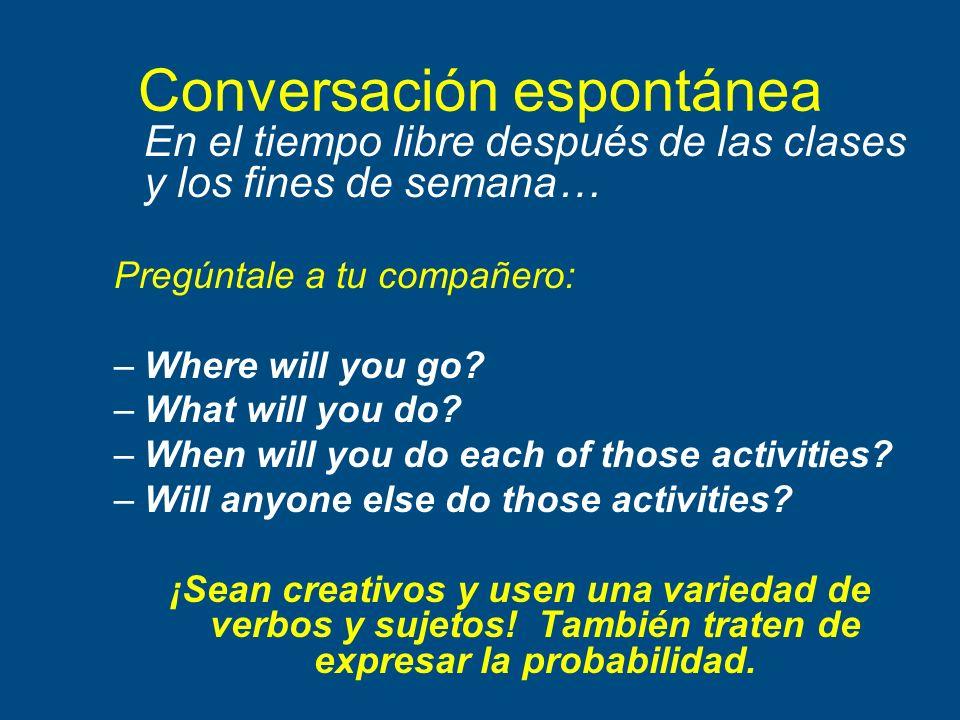 Conversación espontánea En el tiempo libre después de las clases y los fines de semana… Pregúntale a tu compañero: –Where will you go? –What will you