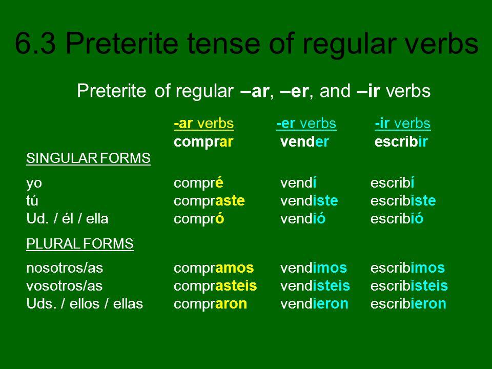 6.3 Preterite tense of regular verbs -ar verbs -er verbs -ir verbs comprar vender escribir SINGULAR FORMS yo compré vendí escribí tú compraste vendist