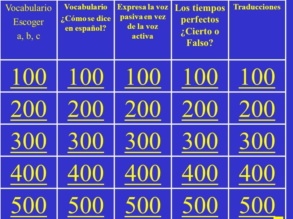 Peligro = Jeopardy Español III Vocabulario Lección 15 La voz pasiva Los tiempos perfectos
