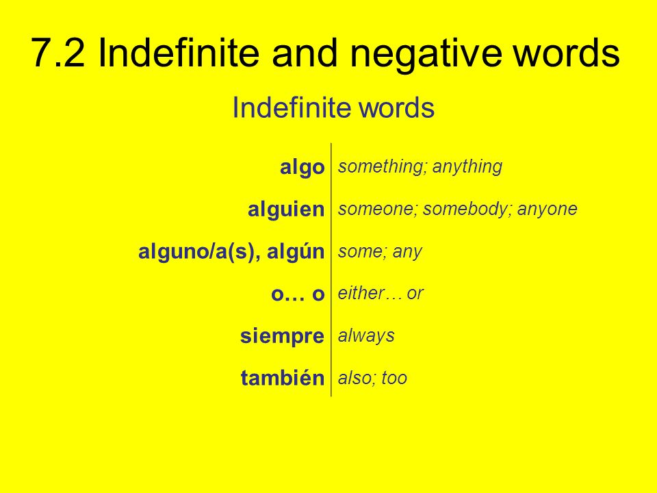 7.2 Indefinite and negative words Indefinite words algo something; anything alguien someone; somebody; anyone alguno/a(s), algún some; any o… o either