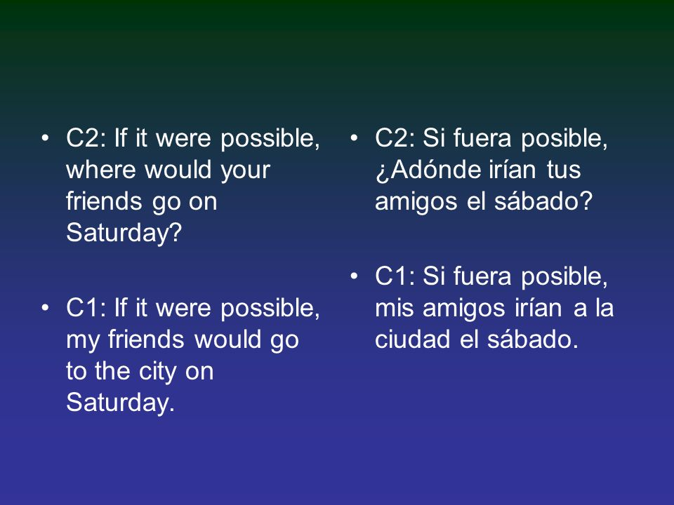 C2: If it were possible, where would your friends go on Saturday.