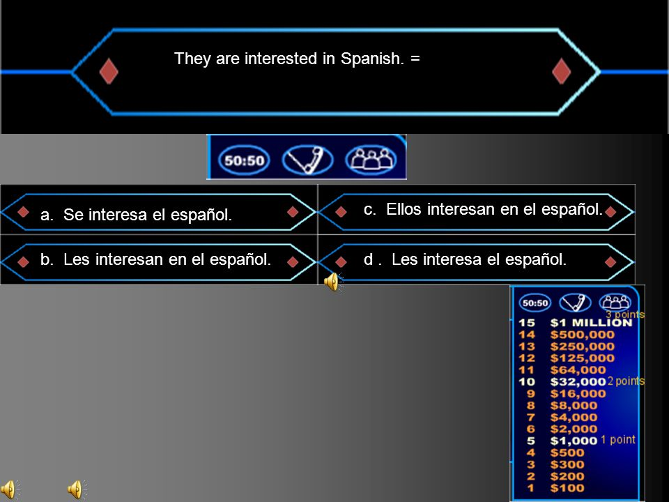 They are interested in Spanish. = a. Se interesa el español.