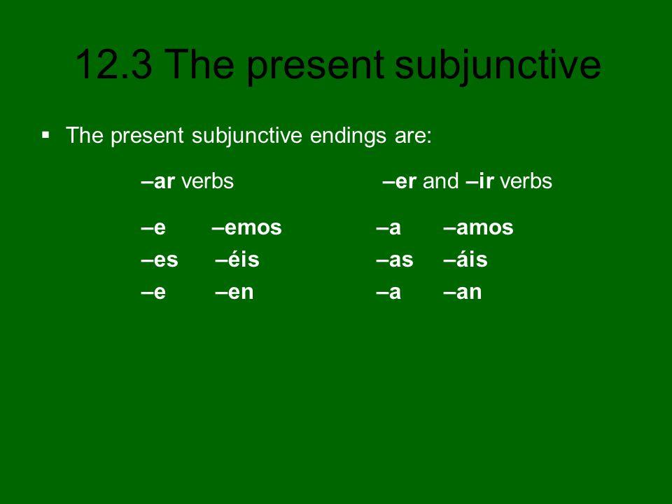 12.3 The present subjunctive 5.(dar, hablar, escribir) que ellos ____ den hablen escriban 6.