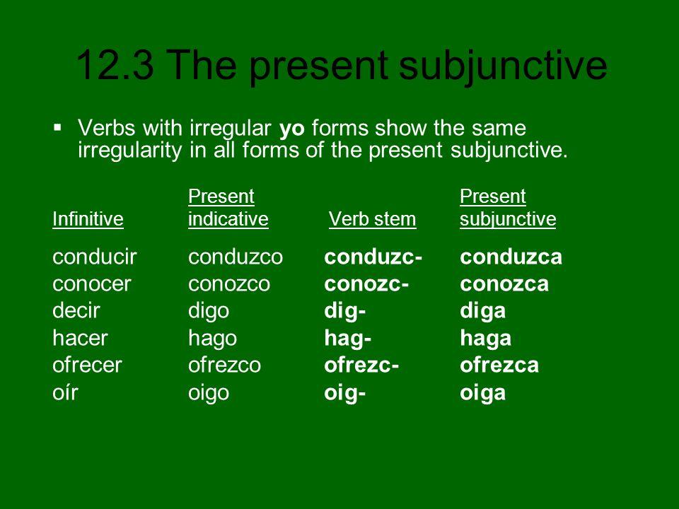 12.3 The present subjunctive 7.(ser, ir, saber) que yo ________ sea vaya sepa 8.