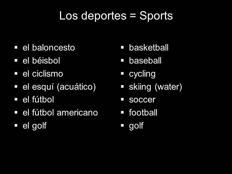 4.1 Present tense of ir Los deportes = Sports el baloncesto el béisbol el ciclismo el esquí (acuático) el fútbol el fútbol americano el golf basketbal