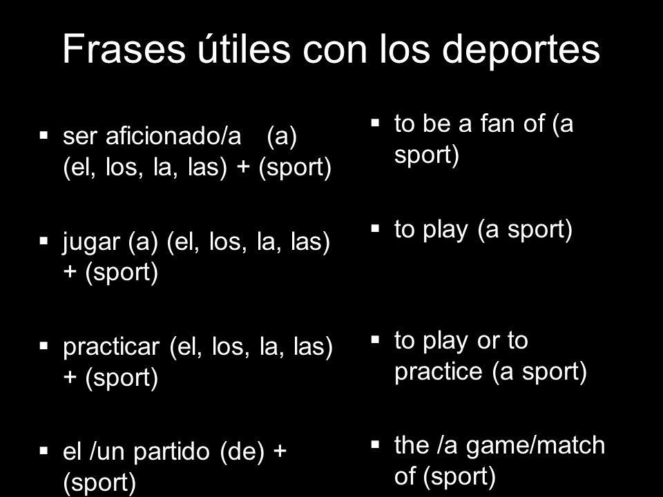 4.1 Present tense of ir Frases útiles con los deportes ser aficionado/a (a) (el, los, la, las) + (sport) jugar (a) (el, los, la, las) + (sport) practi