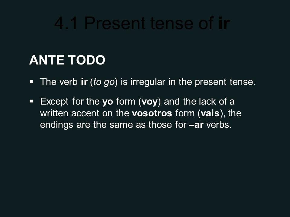 4.1 Present tense of ir SINGULAR FORMS yovoy túvas Ud.