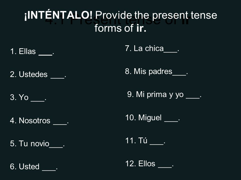 4.1 Present tense of ir ¡INTÉNTALO. Provide the present tense forms of ir.