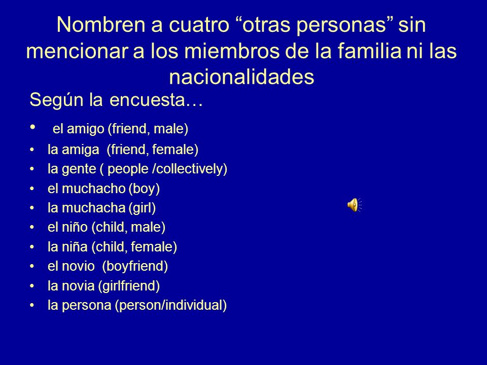 7.¿Cómo se dice en español people (group; not individuals) la gente