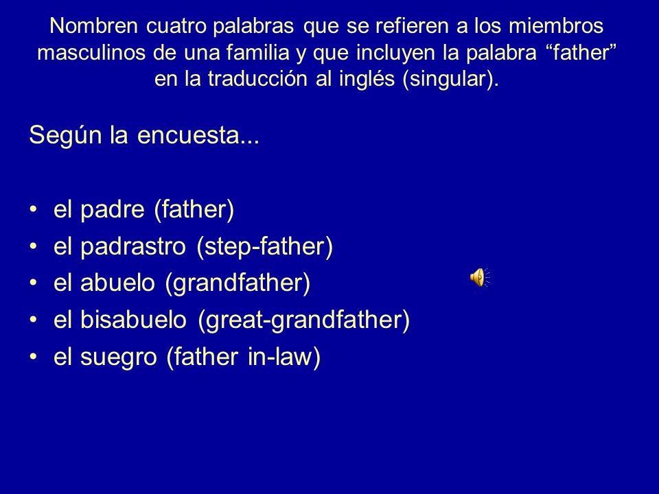 Nombren a cuatro miembros de una familia en la forma femenina, singular Según la encuesta… la abuela (grandmother) la bisabuela (great-grandmother) la cuñada (sister in-law) la esposa (wife) la gemela (twin sister) la hermanastra (stepsister) la hermana (sister) la hijastra (stepdaughter) la hija (daughter) la madrastra (stepmother) la madre (mother) la media hermana (half-sister) la nieta (granddaughter) la nuera (daughter in-law) la prima (cousin) la sobrina (niece) la suegra (mother in-law) la tía (aunt)