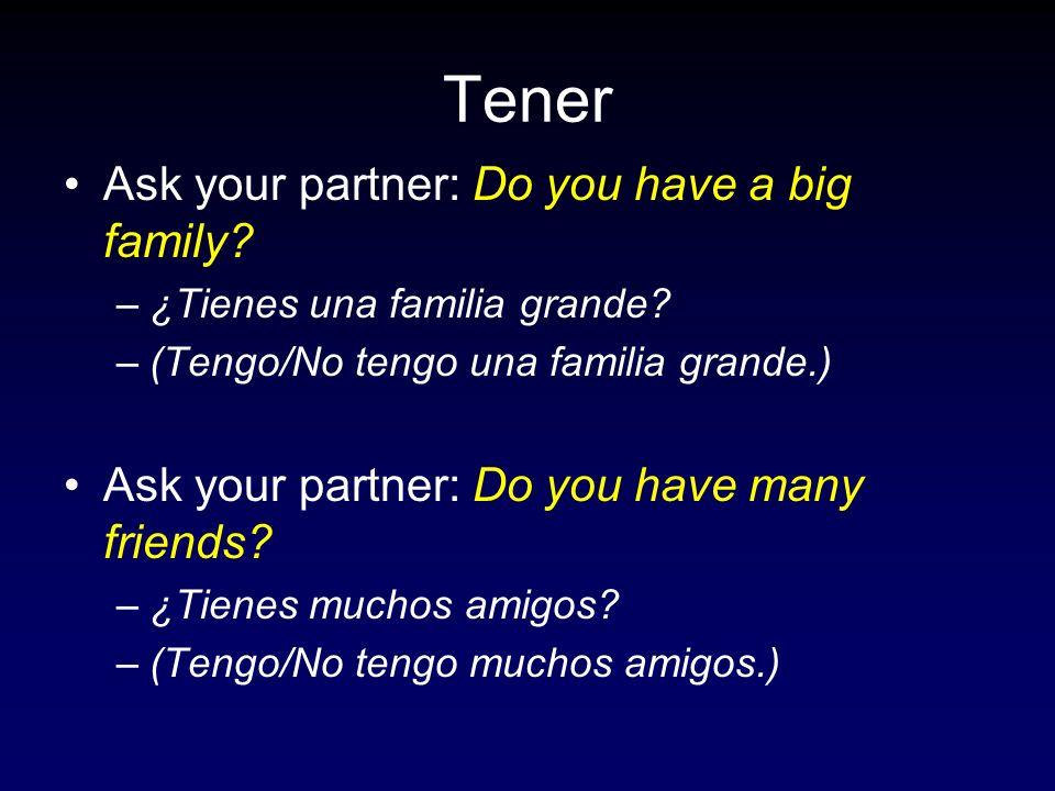 Tener Ask your partner: Do you have a big family? –¿Tienes una familia grande? –(Tengo/No tengo una familia grande.) Ask your partner: Do you have man