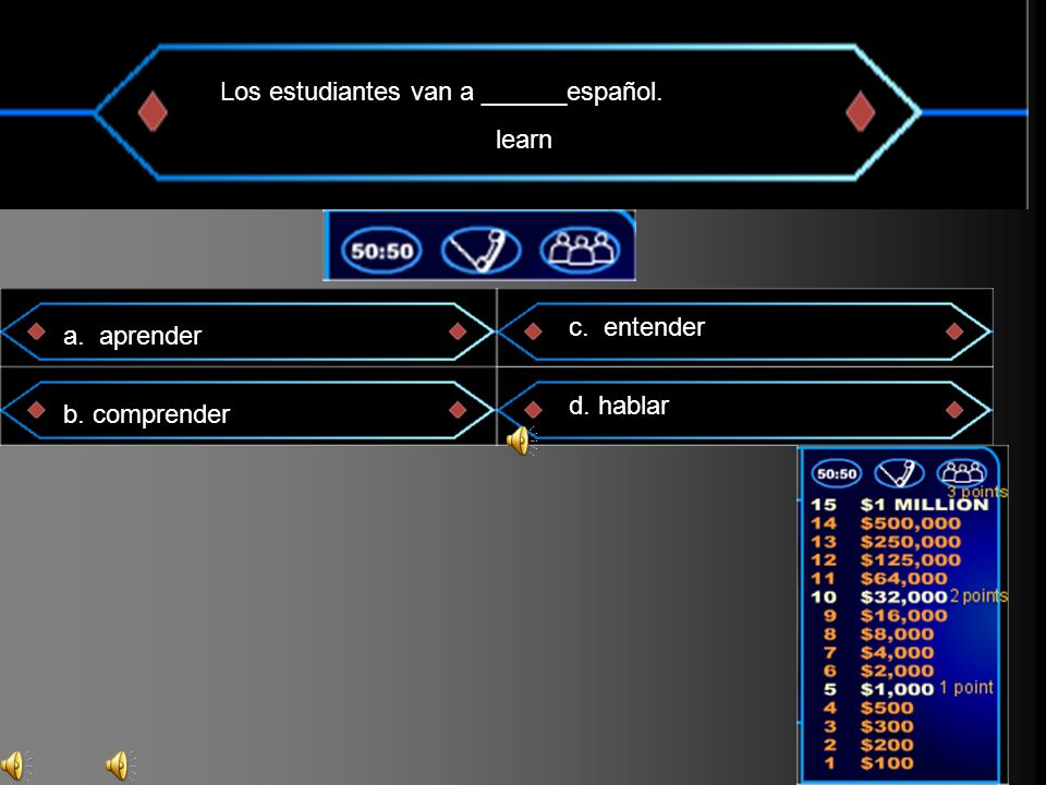 Los estudiantes van a ______español. learn a. aprender b. comprender c. entender d. hablar
