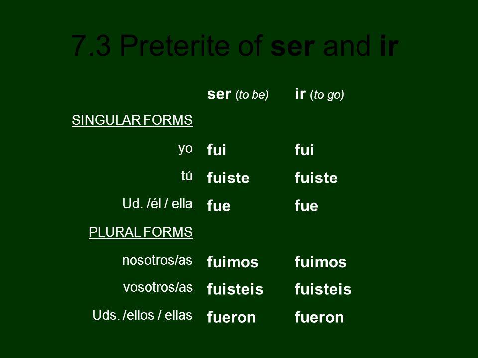 7.3 Preterite of ser and ir ser (to be) ir (to go) SINGULAR FORMS yo fui tú fuiste Ud. /él / ella fue PLURAL FORMS nosotros/as fuimos vosotros/as fuis