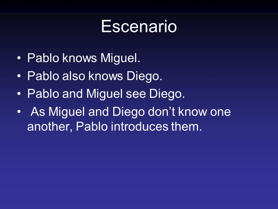 Escenario Pablo knows Miguel. Pablo also knows Diego.