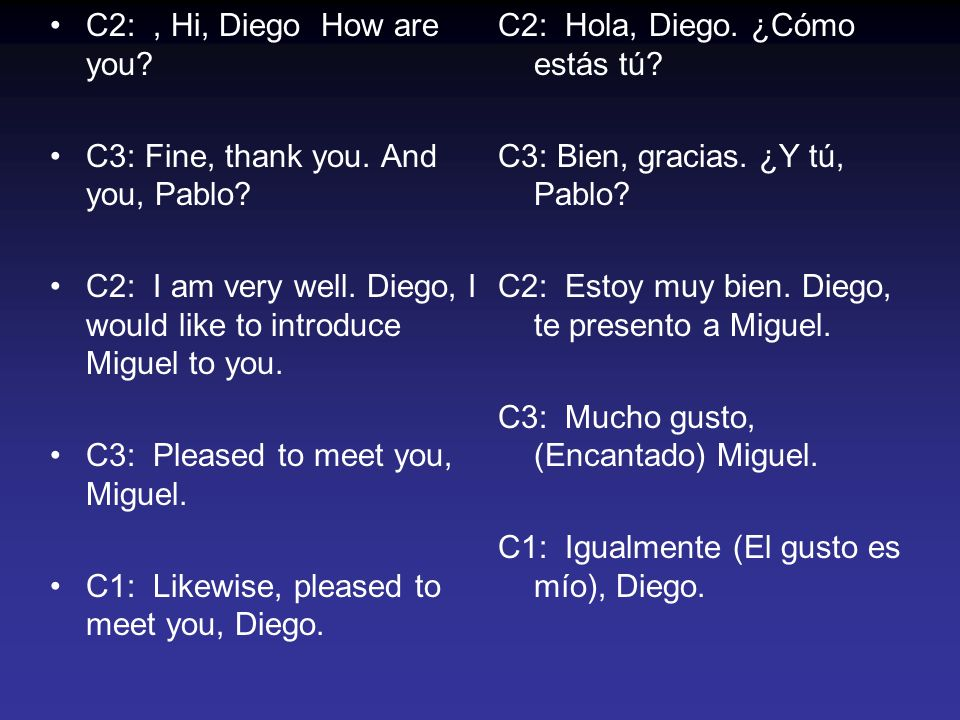 C2:, Hi, Diego How are you. C3: Fine, thank you. And you, Pablo.