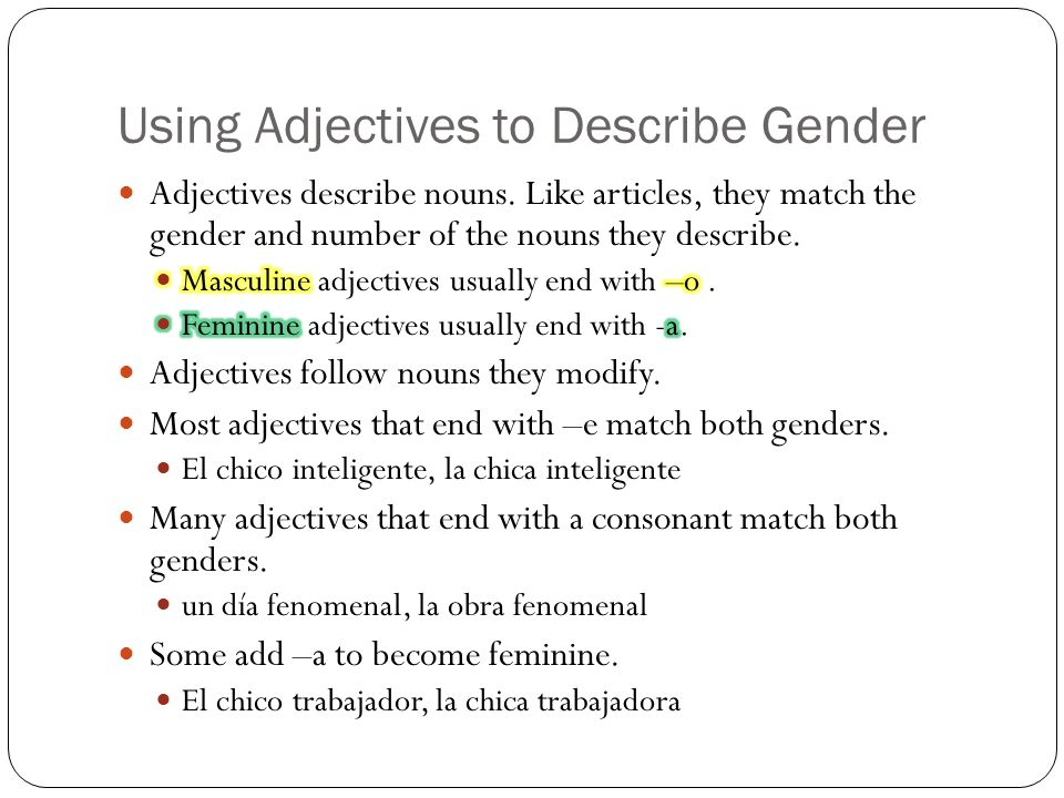 Using Adjectives to Describe Gender