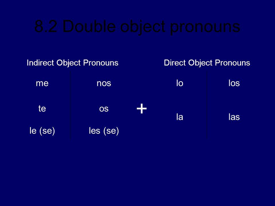 8.2 Double object pronouns Indirect Object PronounsDirect Object Pronouns menoslolos teos + lalas le (se)les (se)