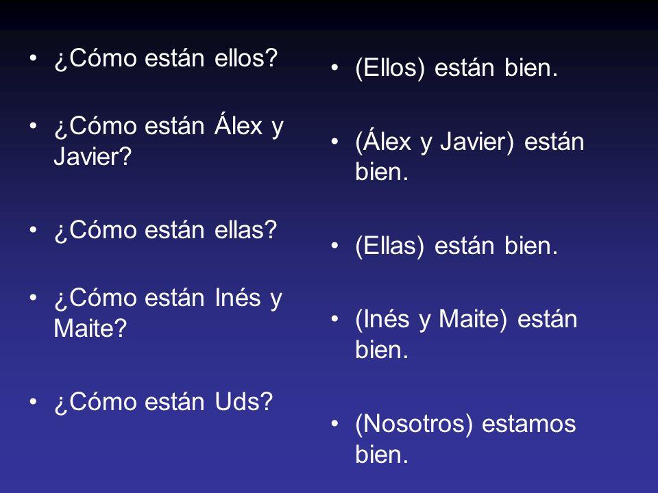 ¿Cómo están ellos? ¿Cómo están Álex y Javier? ¿Cómo están ellas? ¿Cómo están Inés y Maite? ¿Cómo están Uds? (Ellos) están bien. (Álex y Javier) están