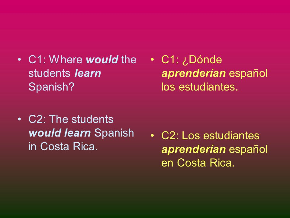 C1: Where would the students learn Spanish. C2: The students would learn Spanish in Costa Rica.