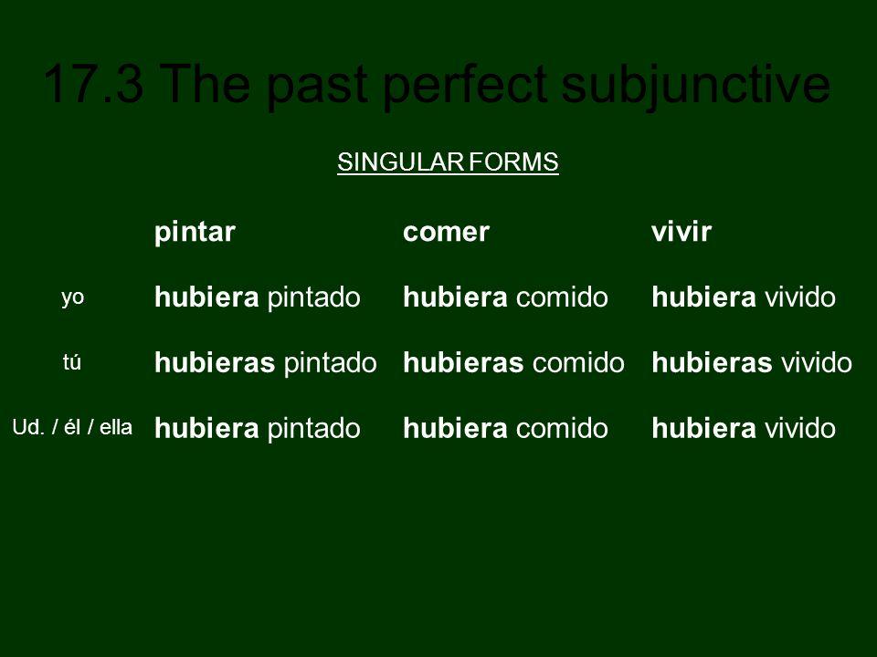 17.3 The past perfect subjunctive pintarcomervivir yo hubiera pintadohubiera comidohubiera vivido tú hubieras pintadohubieras comidohubieras vivido Ud