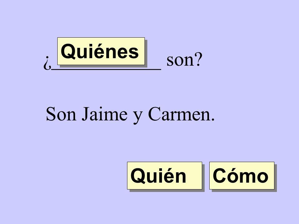 ¿___________ son? Son Jaime y Carmen. Quién Quiénes Cómo