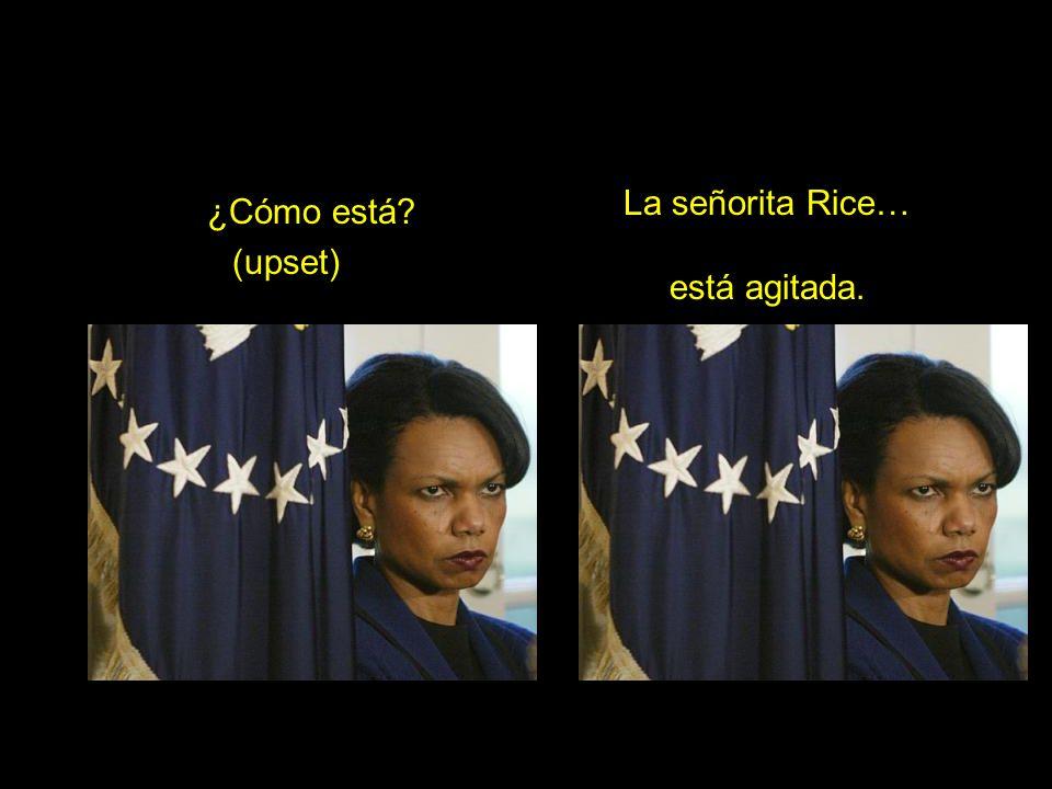 ¿Cómo está? (upset) La señorita Rice… está agitada.