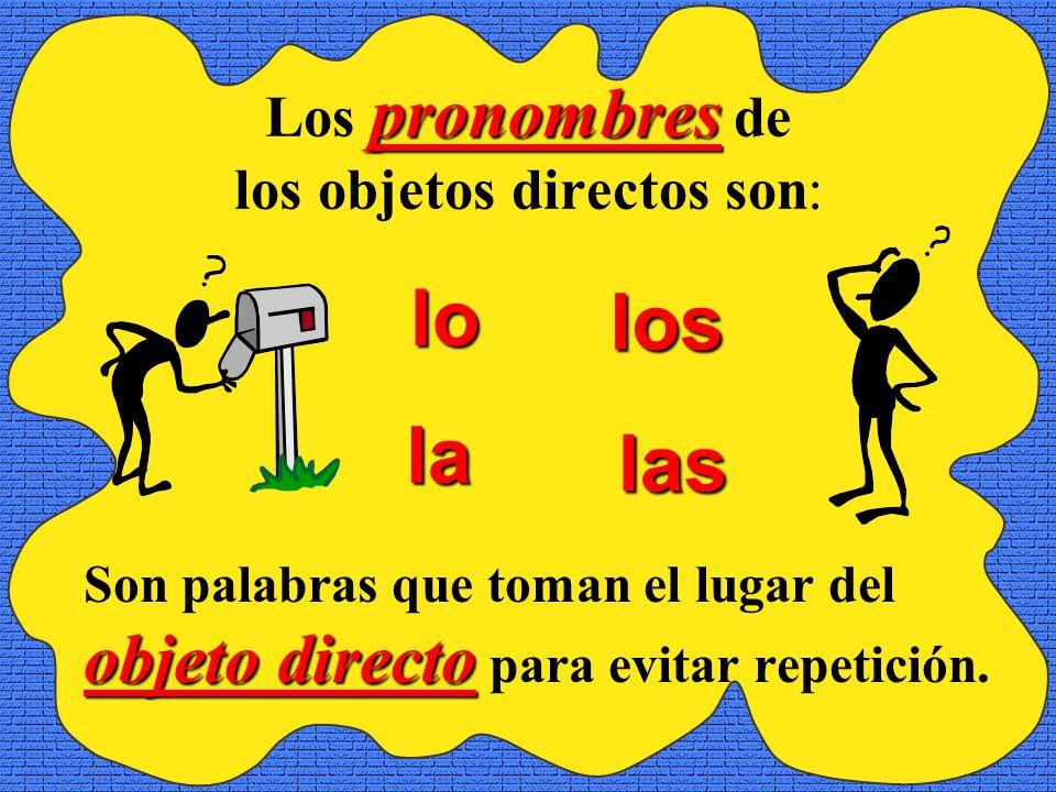 pronombres Los pronombres de los objetos directos son: objeto directo Son palabras que toman el lugar del objeto directo para evitar repetición.