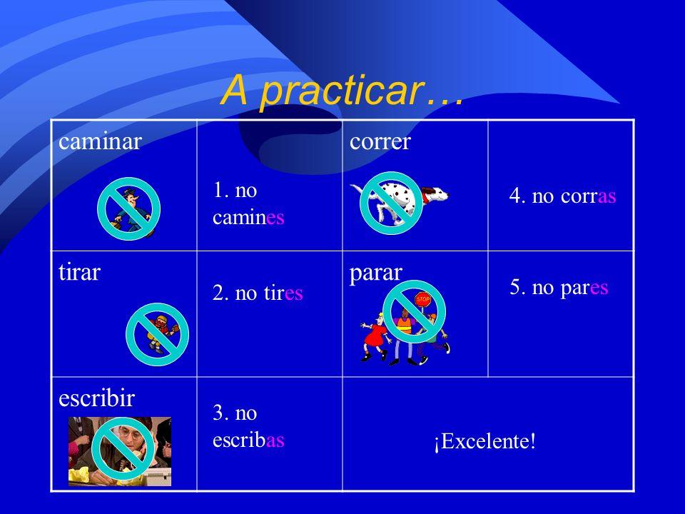 ¿Cómo formamos los mandatos negativos de los verbos er y ir? 1. Escriban el infinitivo del verbo. correr corro corr no corras 2. Cambien el verbo a la