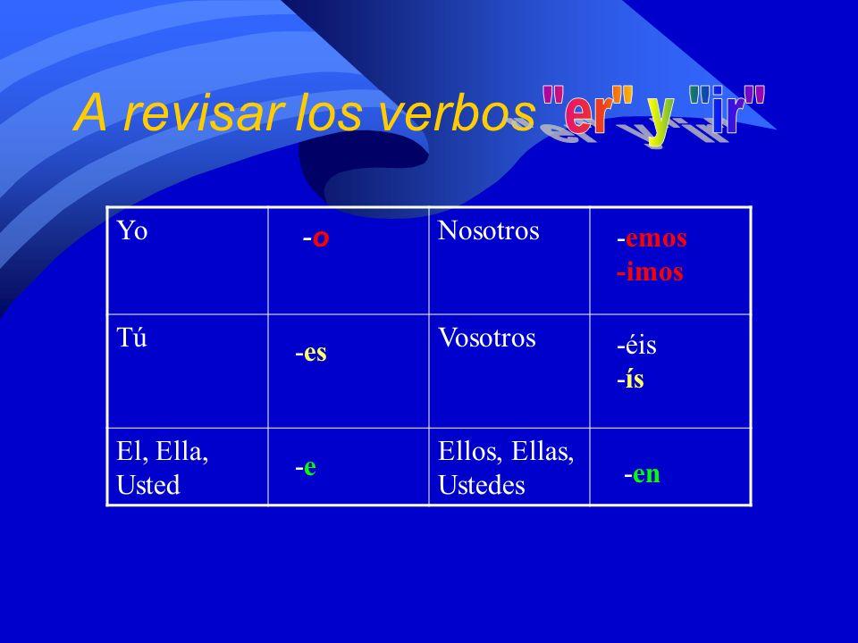 A revisar los verbos YoNosotros TúVosotros El, Ella, Usted Ellos, Ellas, Ustedes -o-o -es -e-e -emos -imos -éis -ís -en