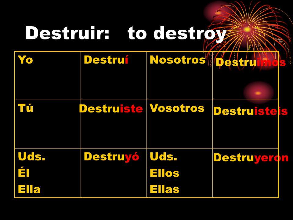 Destruir: to destroy Destruyeron Uds. Ellos Ellas DestruyóUds. Él Ella Destruisteis Vosotros Destruiste TúTú Destruimos NosotrosDestruíYo