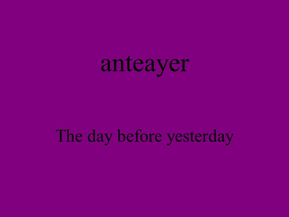 anteayer The day before yesterday