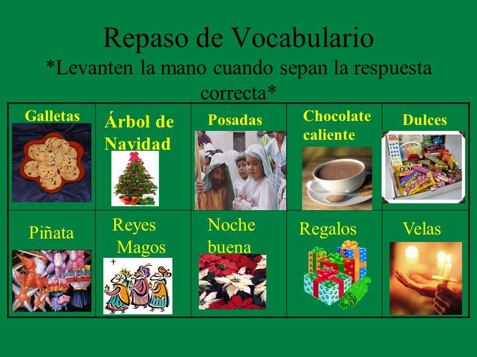 Repaso de Vocabulario *Levanten la mano cuando sepan la respuesta correcta* Galletas Dulces Árbol de Navidad Posadas Chocolate caliente Piñata Reyes M