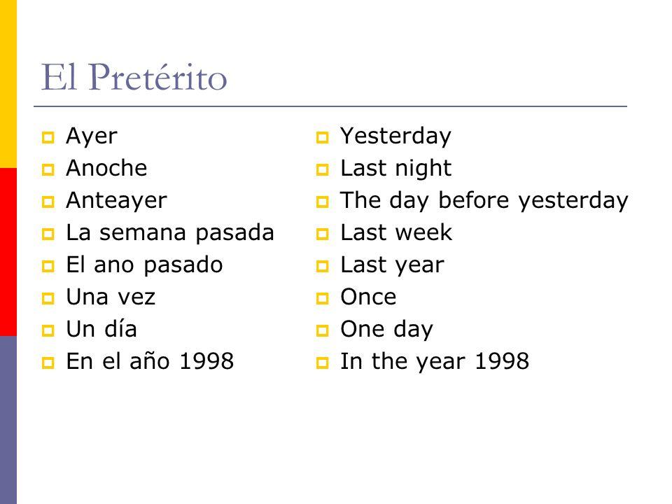 El Pretérito Ayer Anoche Anteayer La semana pasada El ano pasado Una vez Un día En el año 1998 Yesterday Last night The day before yesterday Last week