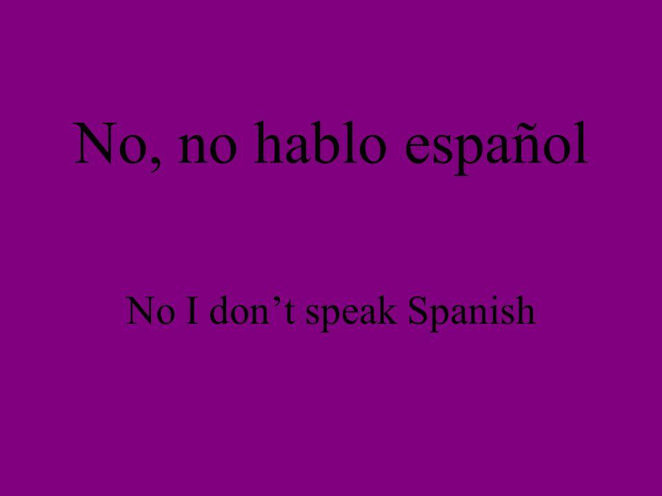 No, no hablo español No I dont speak Spanish