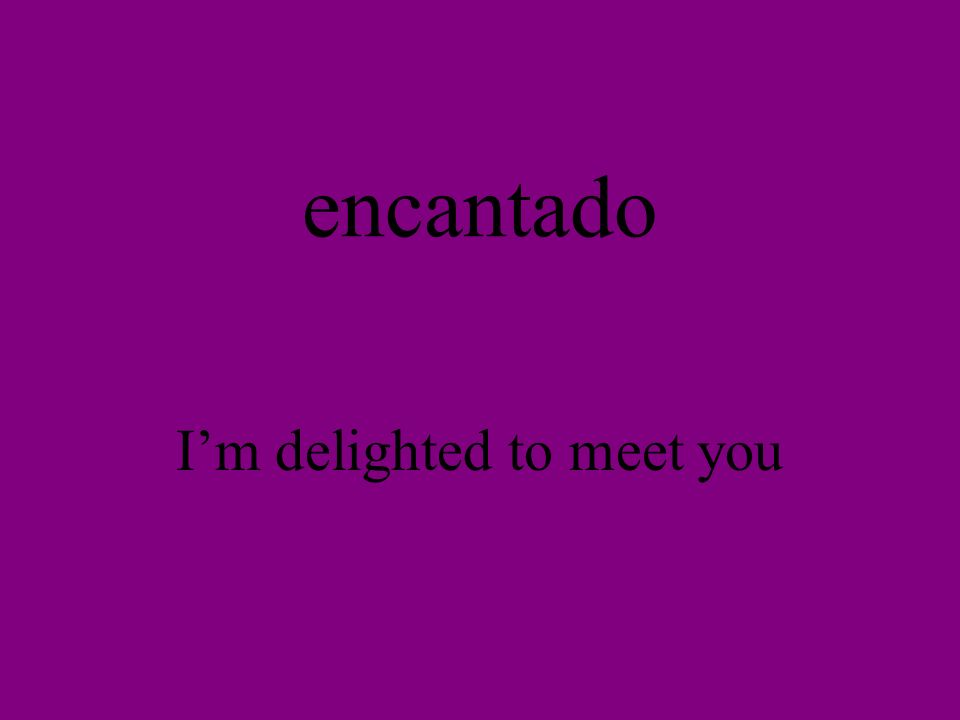 encantado Im delighted to meet you