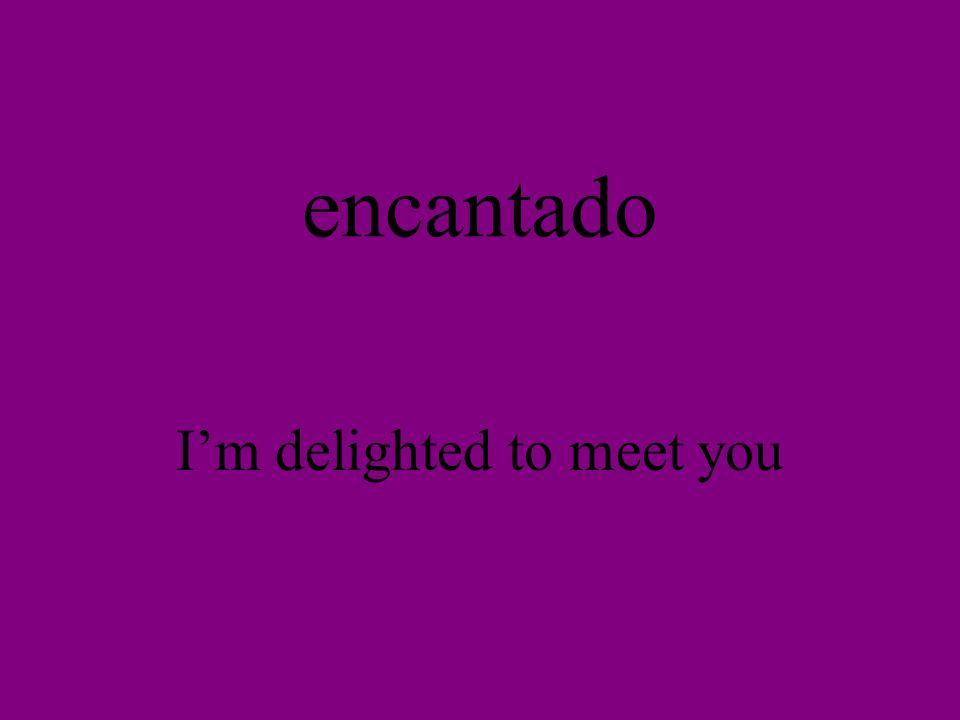 encantado Im delighted to meet you