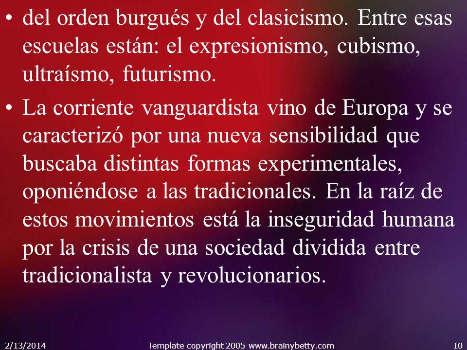 del orden burgués y del clasicismo. Entre esas escuelas están: el expresionismo, cubismo, ultraísmo, futurismo. La corriente vanguardista vino de Euro