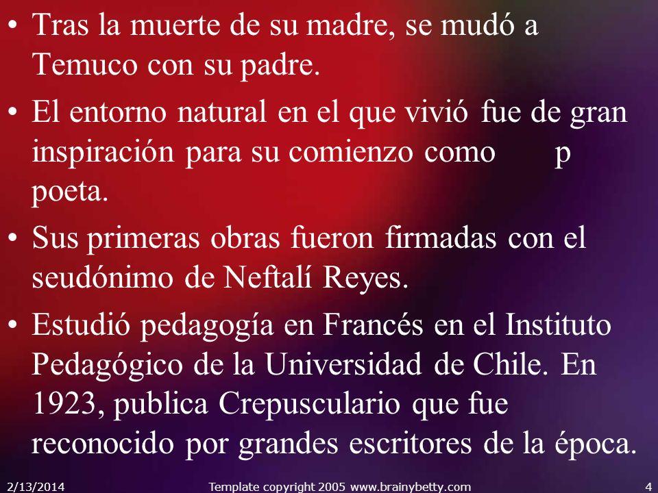 Tras la muerte de su madre, se mudó a Temuco con su padre. El entorno natural en el que vivió fue de gran inspiración para su comienzo como p poeta. S