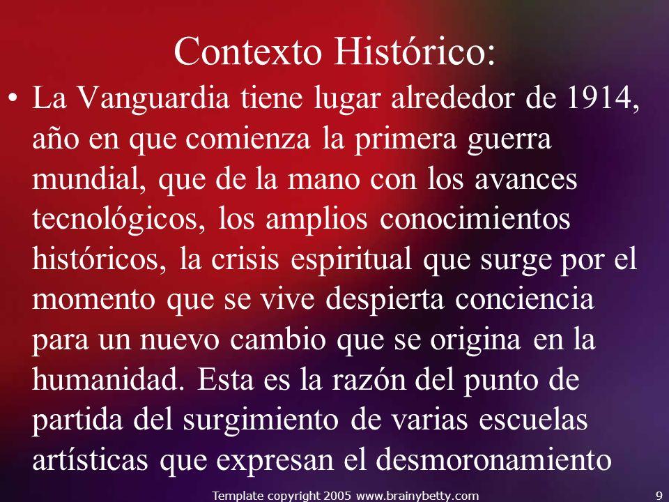 Contexto Histórico: La Vanguardia tiene lugar alrededor de 1914, año en que comienza la primera guerra mundial, que de la mano con los avances tecnoló