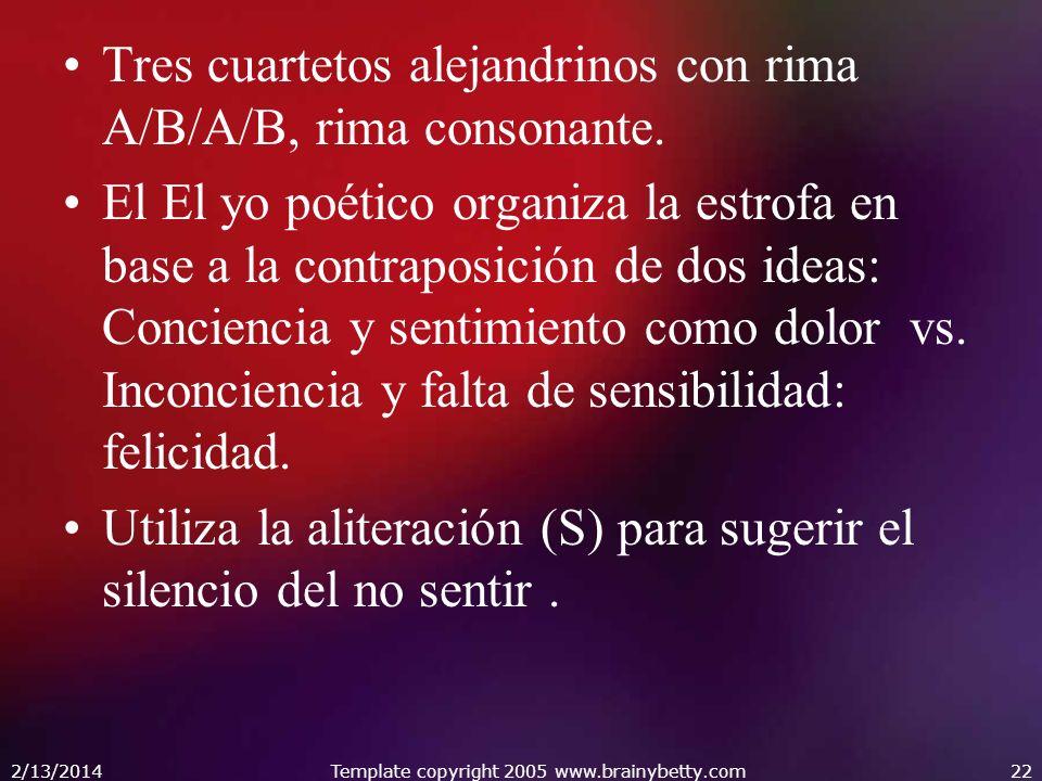 Tres cuartetos alejandrinos con rima A/B/A/B, rima consonante. El El yo poético organiza la estrofa en base a la contraposición de dos ideas: Concienc