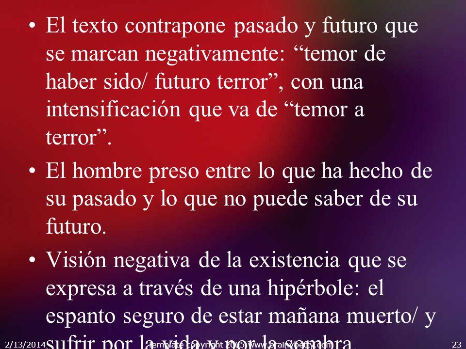 El texto contrapone pasado y futuro que se marcan negativamente: temor de haber sido/ futuro terror, con una intensificación que va de temor a terror.