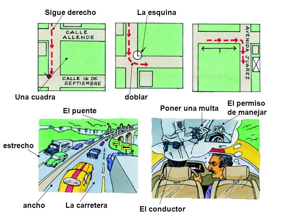 La esquina La carretera Poner una multa El permiso de manejar El conductor El puente ancho estrecho Sigue derecho doblarUna cuadra