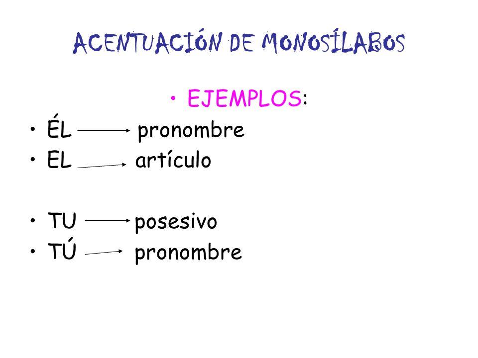 ACENTUACIÓN DE MONOSÍLABOS EJEMPLOS: ÉL pronombre EL artículo TU posesivo TÚ pronombre
